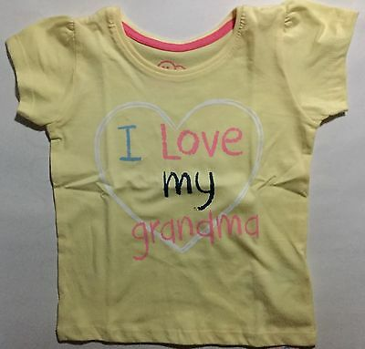 Baby Girl Yellow T Shirt with ' I Love My Grandma ' detail size18-24 months