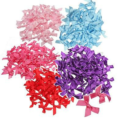 UK 50X DIY Satin Small Ribbon Bows Appliques Scrapbooking Assorted Colours 7mm