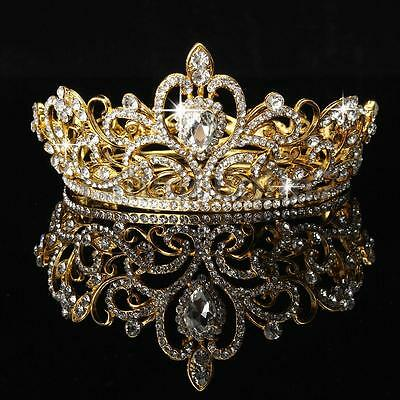 Gold Rhinestone Crystal Crown Tiara Bridal Wedding Prom Hair Jewelry Headband UK