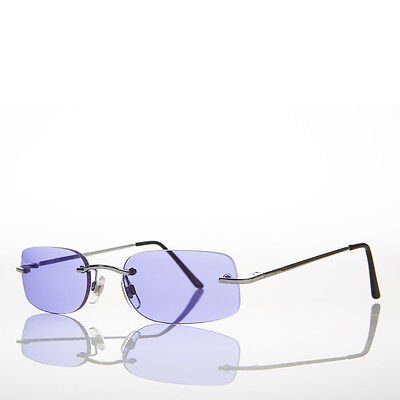 90s Rimless Rectangle Hippie Sunglasses with Color Tinted Lens Purple -Bea