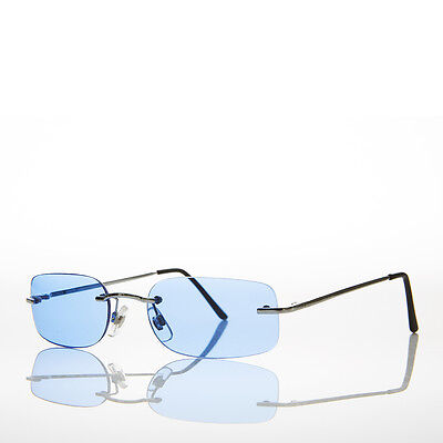 90s Rimless Rectangle Hippie Sunglasses with Color Tinted Lens Blue -Bea