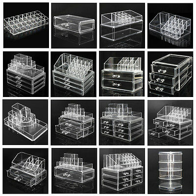 Cosmetic Organizer Clear Acrylic Makeup Drawers Jewelry Holder Case Box Storage