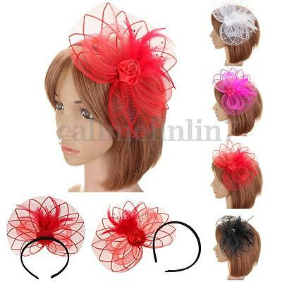 Ladies  Flower Feather Fascinator Headband Hat Wedding Prom Day Race Royal Ascot