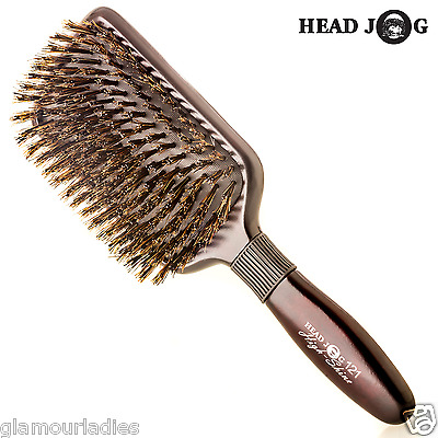 HEAD JOG 121 Brown High Shine Paddle Hair Brush Boar Nylon Bristle Professional
