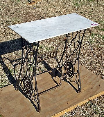 Vtg MARBLE TOP TABLE Singer Treadle Sewing Machine Cast Iron Base Industrial Age