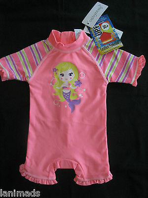 MERMAID Coral Baby Girls Bathers BNWT Size 3-6m 6-12m 1  UPF 50+ ** Free Post**
