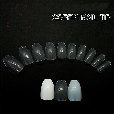 COFFIN styled False Nail Tips - Natural//Clear -  ABS Artificial Tips 500pcs