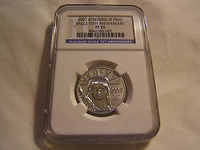 2007 W $50 reverse proof Platinum Eagle NGC PF70 10th Anniversary blue label