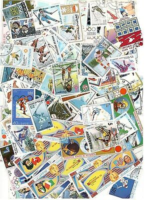100 Skiing Stamps All Different Nice Lot