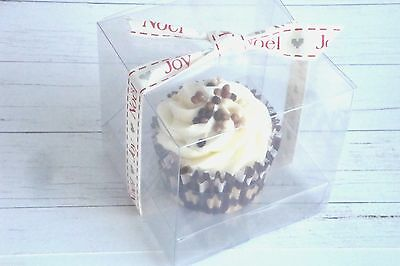 Clear Cupcake Patisserie Boxes - 8.5cm Cube - Wedding Favour Boxes