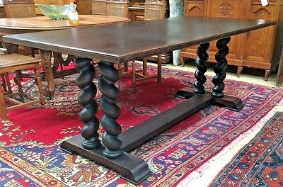 Antique Walnut Italian Barley Twist Trestle Dining Desk or Sofa Table 78.25''L
