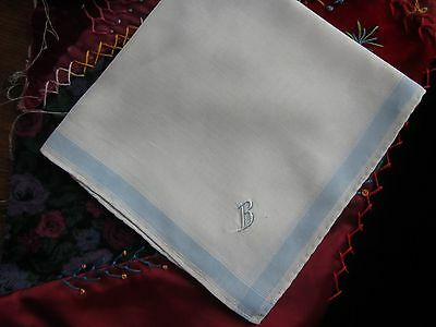 "Vintage Embroidered ""B"" white Handkerchief. Blue edge. Very good condition."