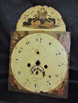 Nice 12in x 17in Hand Painted Grandfather Clock Arched Dial. The Continents?