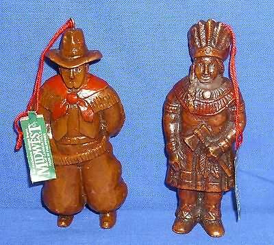 Lot of 2 Midwest Cannon Falls Western Ornaments Figures Cowboy Native American