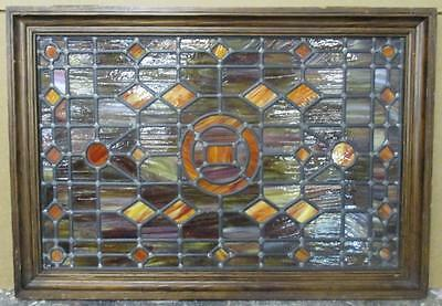 "LARGE ENGLISH LEADED STAINED GLASS WINDOW Colorful Pub Glass 28.5"" x 19.75"""