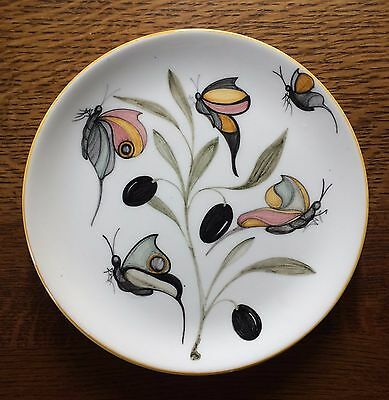 Hand painted butterfly olive branch decorative ceramic plate Siena Italy