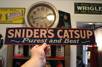 SCARCE 1920's SNIDERS CATSUP EMBOSSED TIN TACKER METAL SIGN KETCHUP HEINZ COKE