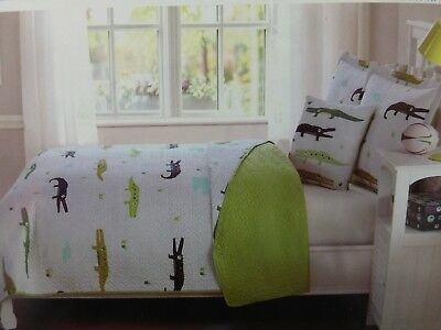 4 pc Kids Expressions Alligator Animal Full Quilt, Shams & Deco Pillow Set NIP