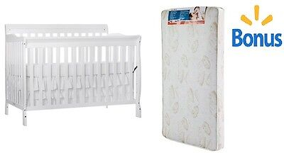 Convertible Baby Bed With Bonus Mattress 5 in 1 Fixed-Side Toddler Nursery New