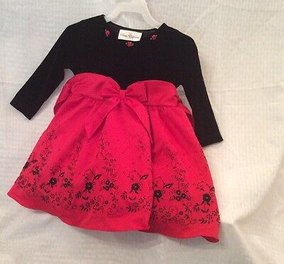 EUC Rare Editions Baby/Toddler Christmas Holiday Winter Dress Size2t Red