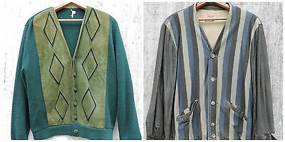 Vintage 1950s Mens Cardigan Sweater Lot CAMPUS Knit Retro Suede Stripes As Is