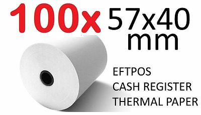 100x THERMAL PAPER EFTPOS CASH REGISTER RECEIPT ROLLS 57MM x 40MM Lot 100 pcs