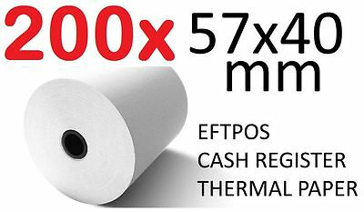 200x THERMAL PAPER EFTPOS CASH REGISTER RECEIPT ROLLS 57MM x 40MM Lot 200 pcs