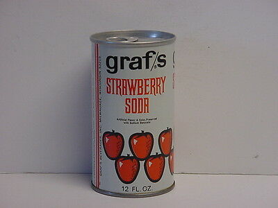 Vintage Graf's Strawberry Soda Straight Steel Pull Tab Bottom Opened Pop Can