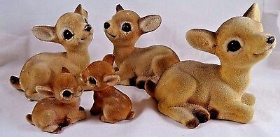 Lot of 5 Vintage Fuzzy Flocked Deer Fawn Figurine