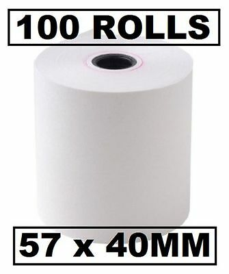 100 THERMAL PAPER EFTPOS CASH REGISTER RECEIPT ROLLS 57x40 mm 100 pcs 57.40 mm