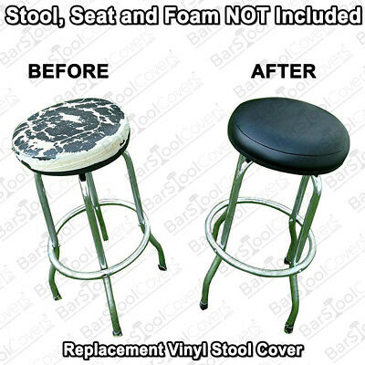 BAR STOOL COVER Black Vinyl Replacement Seat Top For Kitchen, Pub, Tavern - DIY