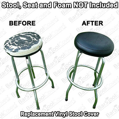 NEW Kitchen Dining Room Pub Bar Stool Replacement Black Vinyl SEAT COVER - B