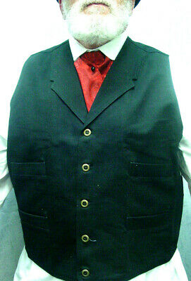 BLACK Frontier Classics Old West Victorian Westworld Son style mens vest S to 5X