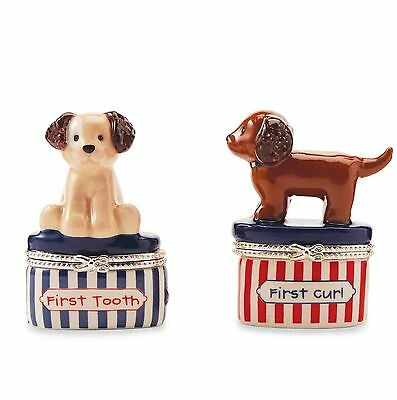Mud Pie Puppy First Tooth and Curl Baby Keepsake Boxes Set
