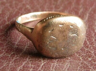 Ancient Artifact > Medieval Bronze Finger Ring SZ: 7 3/4 US 18mm 14748 DR