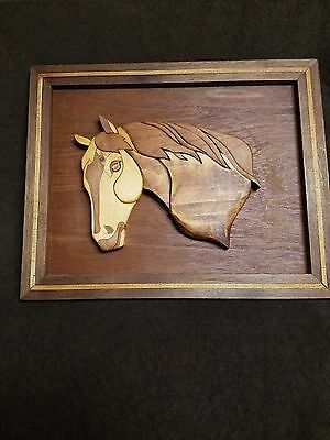 Wood Horse Sculpture Wall Hanging Plaque Stained