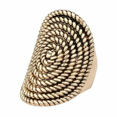 Turkish Wedding Jewelry Oval Shaped Rotating Thread Rings Ancient Gold Plating