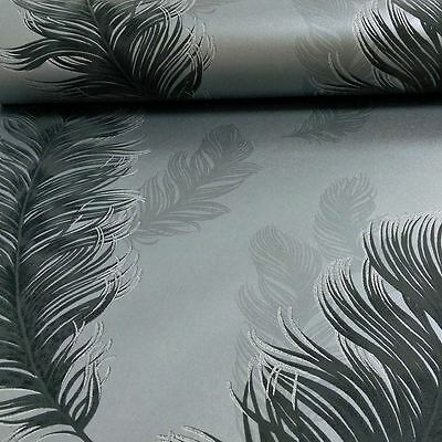 Arthouse Precious Metals Sirius Feathers Wallpaper - Gunmetal Grey 673602 New