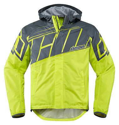 ICON PDX 2 Waterproof Nylon Motorcycle Rain Jacket (Hi-Viz) 2XL (2X-Large)