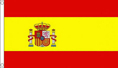 SPAIN FLAG 5' x 3' Spanish State Crest Europe Flags