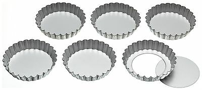 KitchenCraft Stainless Steel Fluted Tartlet Tins With Loose Bases Top Quality