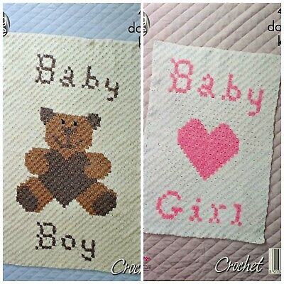 CROCHET PATTERN Baby Blanket Teddy Bear/Heart Boy/Girl Motif DK King Cole 4890