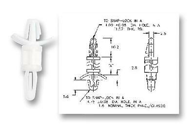LOCKING PCB SUPPORT 12.7MM (20PK) Fasteners & Hardware Spacers & Feet