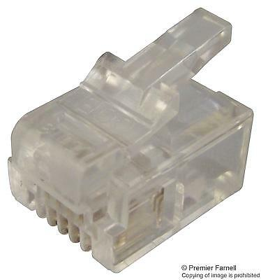 PLUG RJ11 ROUNDED 6P4C Connectors Modular - MHRJ116P4CR - Pack Of 10