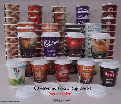 InCup Drinks 2GO 12oz(340ml) STARTER PACK 80 mixed (or your choice) 8 flavours