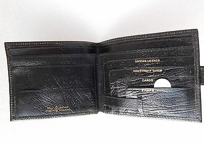 Vintage grained real leather wallet Usable but a bit tatty 1970s 1980s black