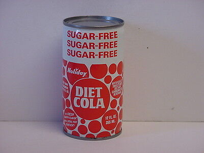 Vintage Holiday Diet Cola Crimped Steel Flat Top Bottom Opened Soda Can