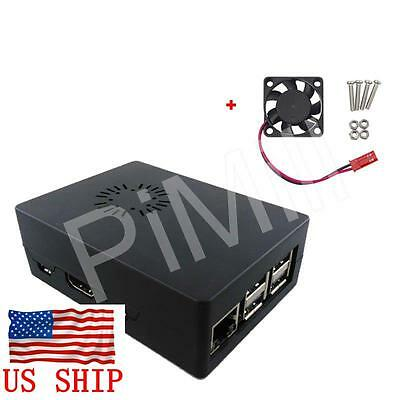 Black ABS Case Enclosure Box with Cooling Fan for Raspberry Pi 3 B / B+ (B plus)