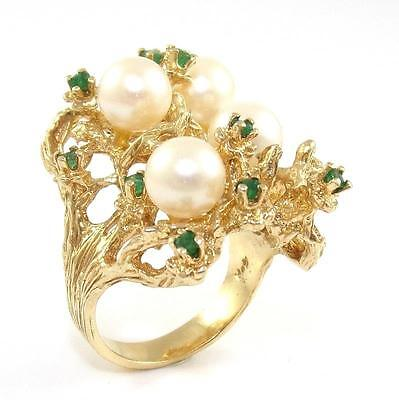 14K Yellow Gold Large Natural Emerald Pearl Cocktail Ring Size 7 ZQ2