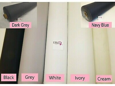 "THERMAL BLACKOUT SUPERSOFT CURTAIN LINING FABRIC - 54"" WIDE -  in WHITE or CREAM"